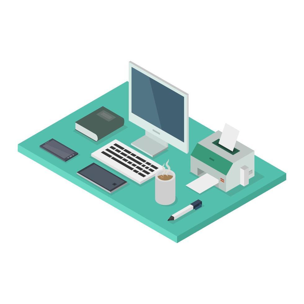 escritorio de oficina isométrica en blanco vector
