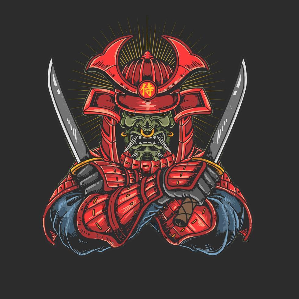 Samurai with katana graphic vector