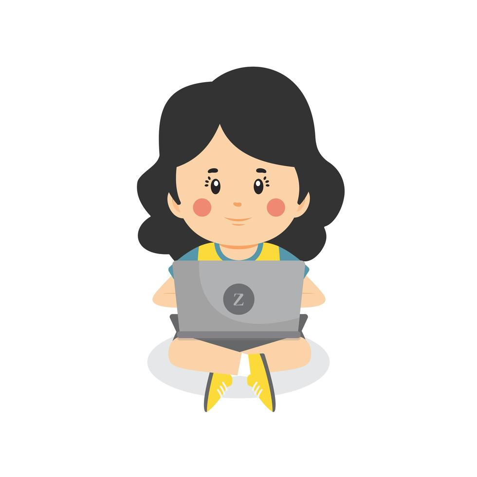 Child Using Computer vector