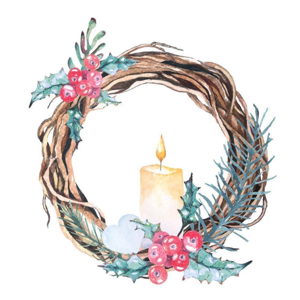 Watercolor Christmas Wreath Composition vector