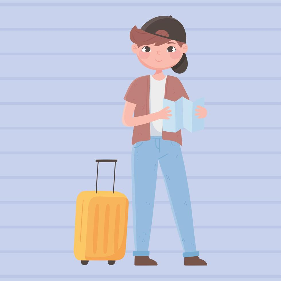 People traveling, boy traveler with map and suitcase vector