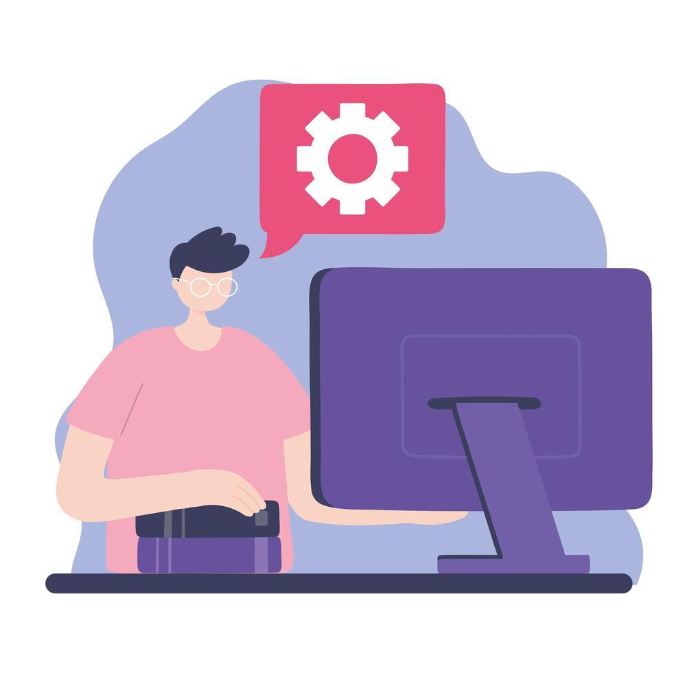 formación en línea, hombre de trabajo con libros y computadora vector