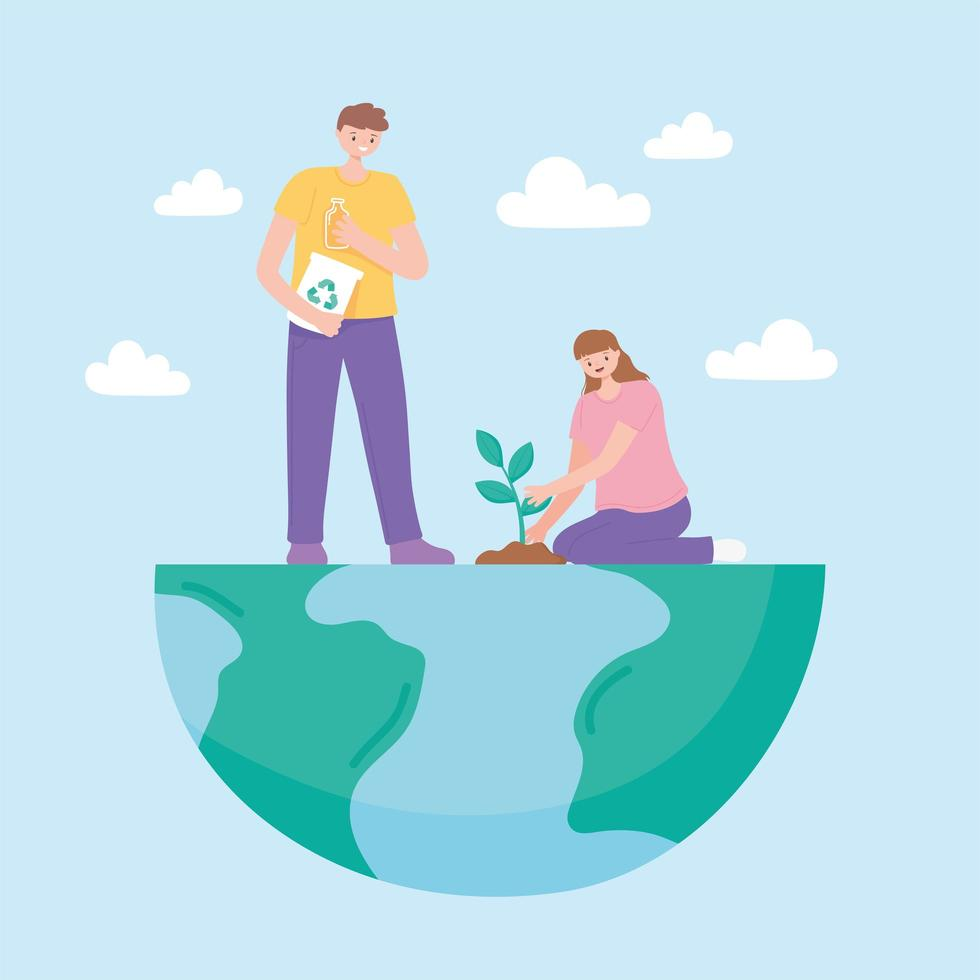 Couple on half Earth planting and recycling vector