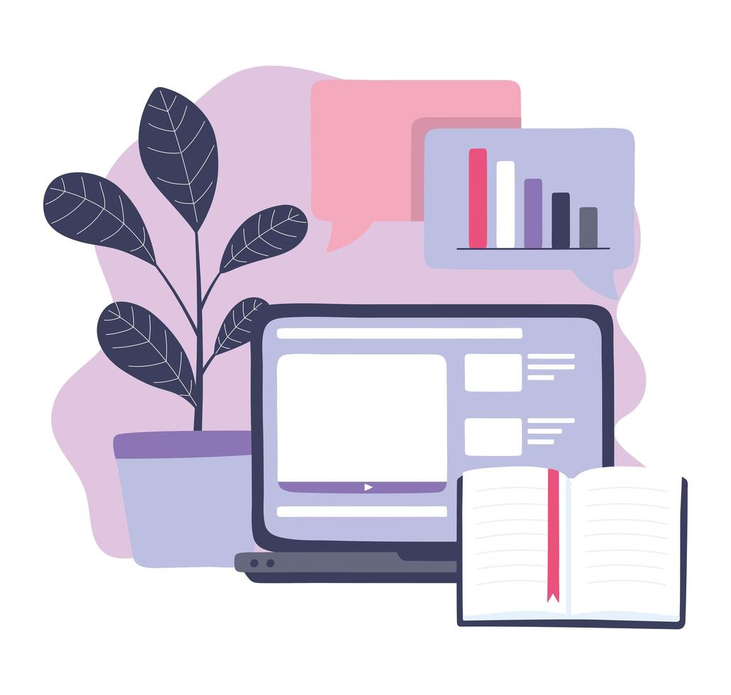 Online training, laptop and book content information vector
