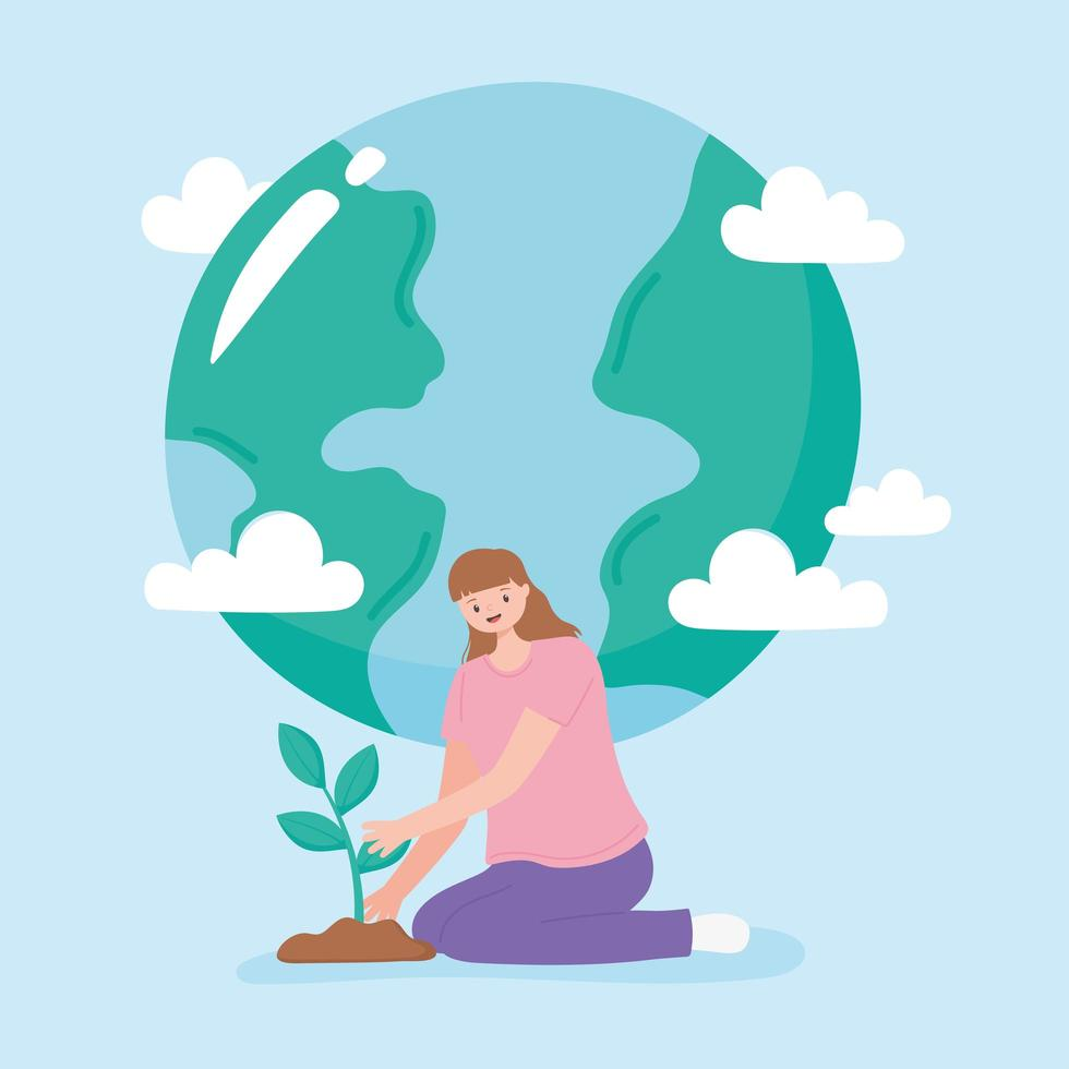 Young woman planting and earth cartoon vector