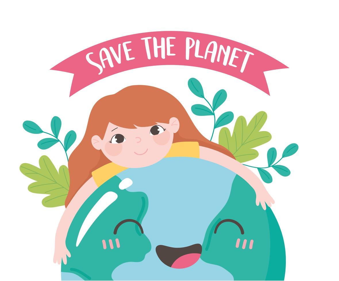 Little girl hugging earth with leaves emblem vector