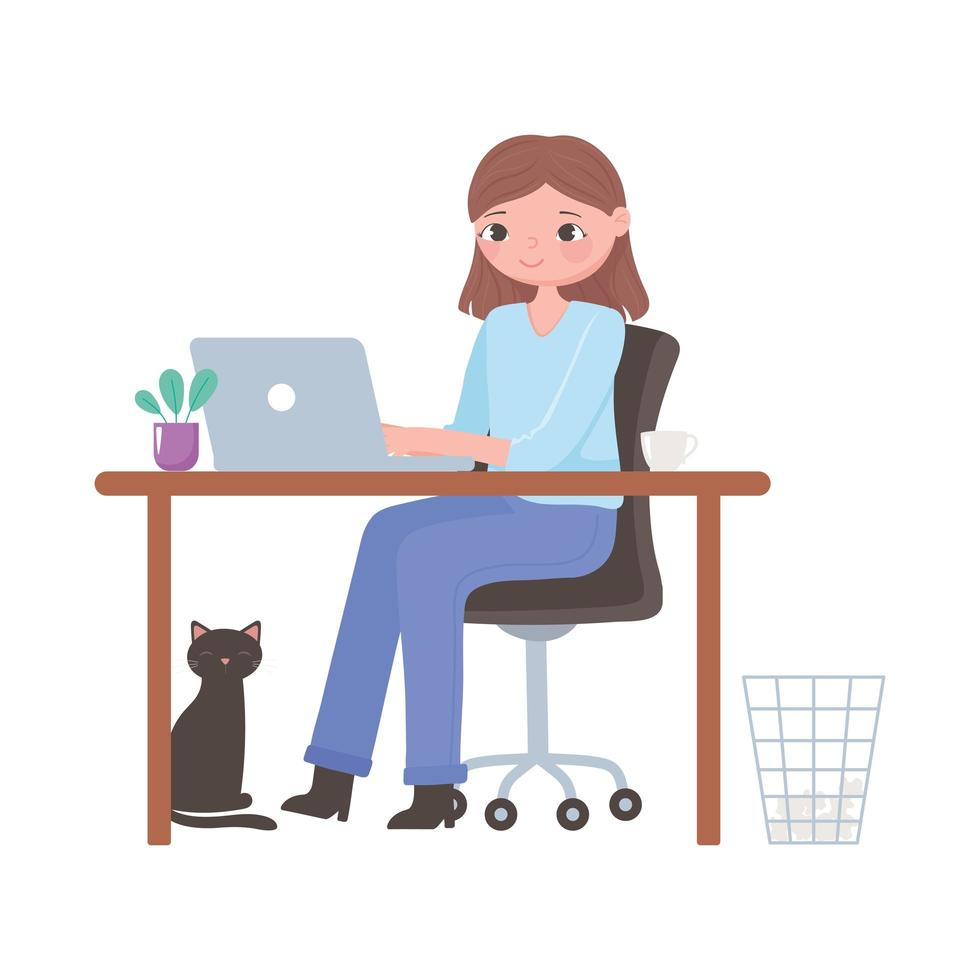 Daily routine scene, woman with laptop working at desk vector