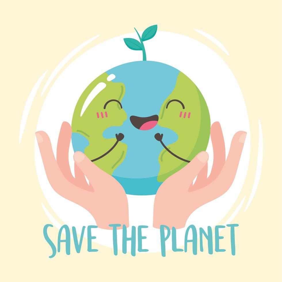 Hands holding happy Earth cartoon vector