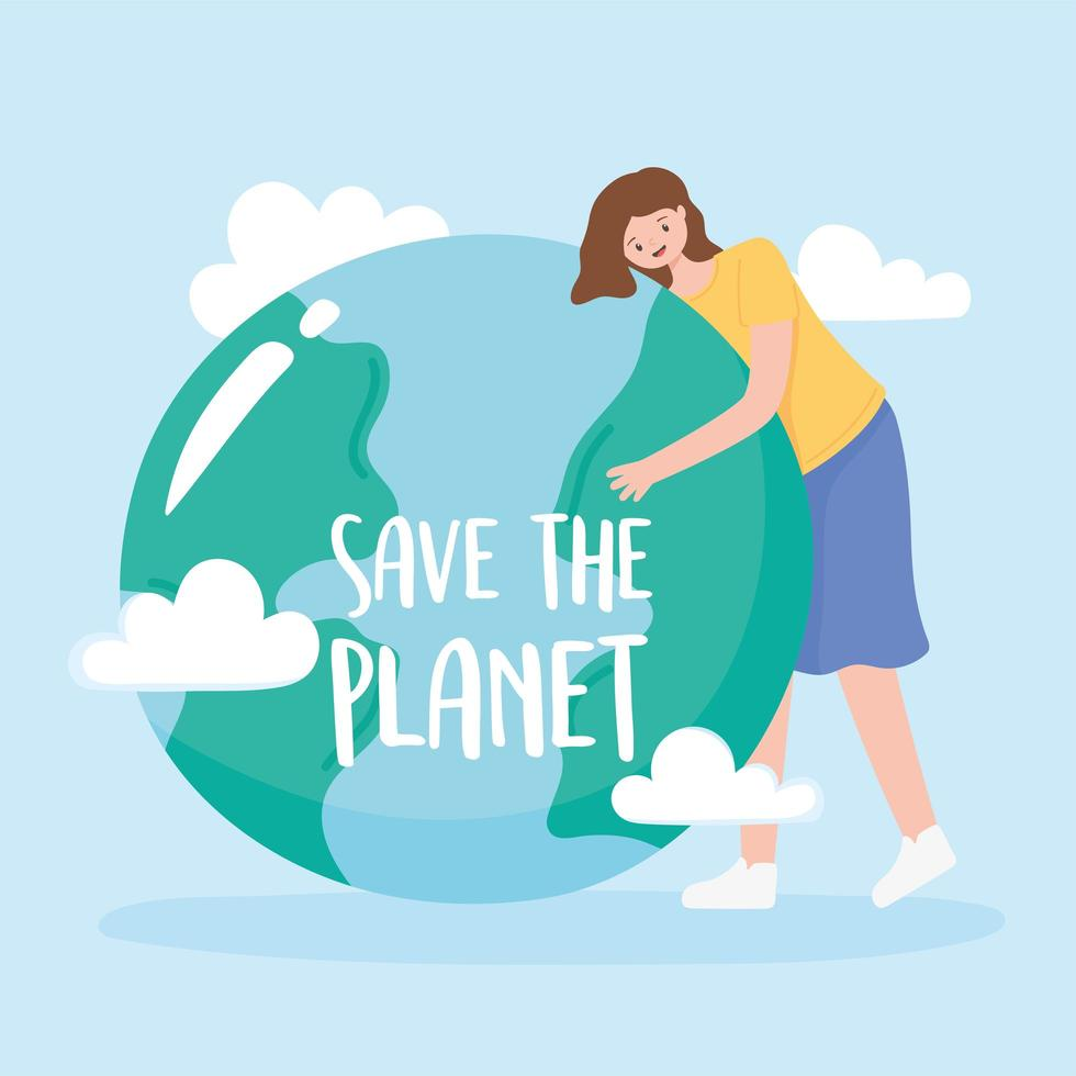 Save the planet, woman hugs Earth with clouds vector