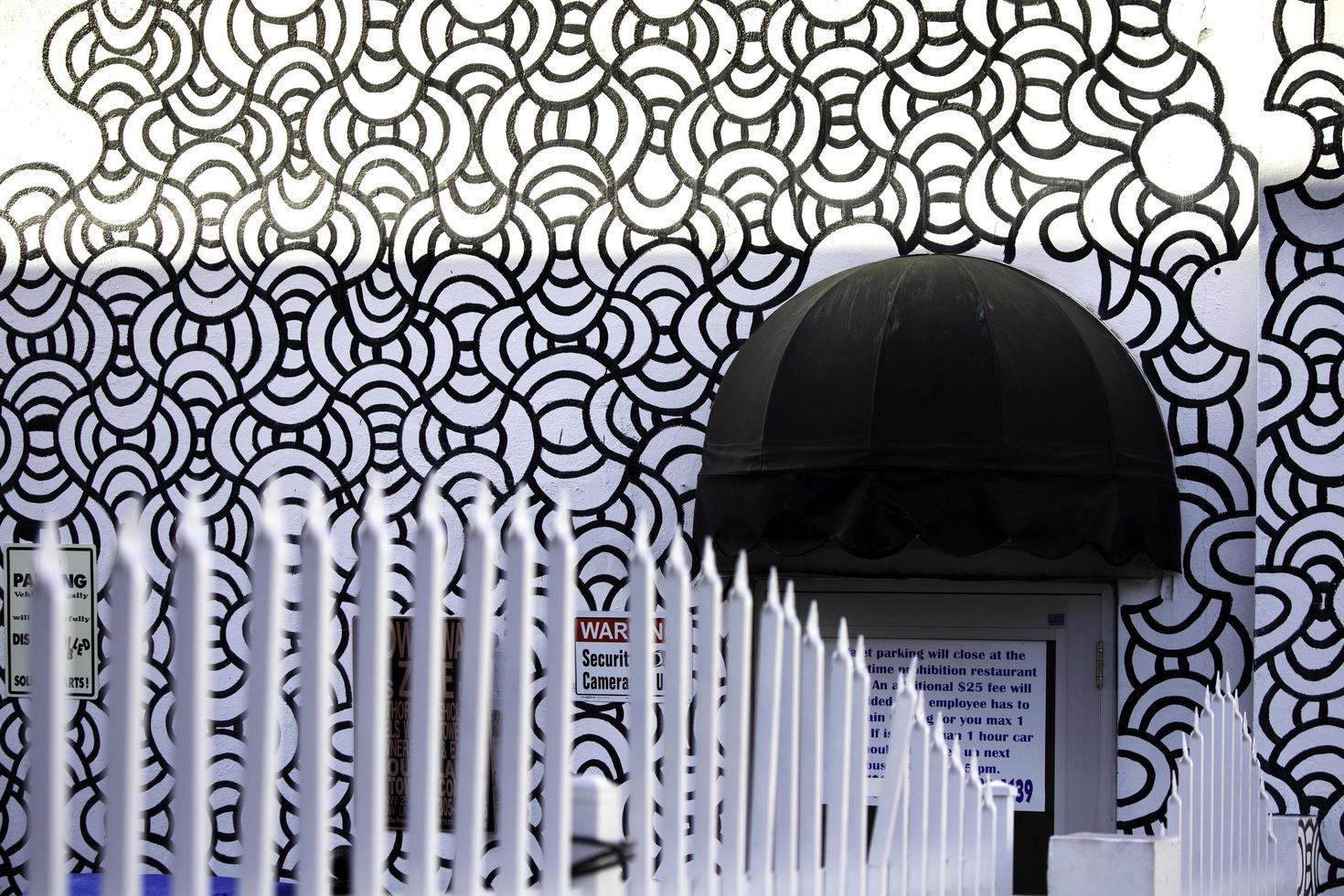 Miami, Florida, 2020 - Black and white design on building photo