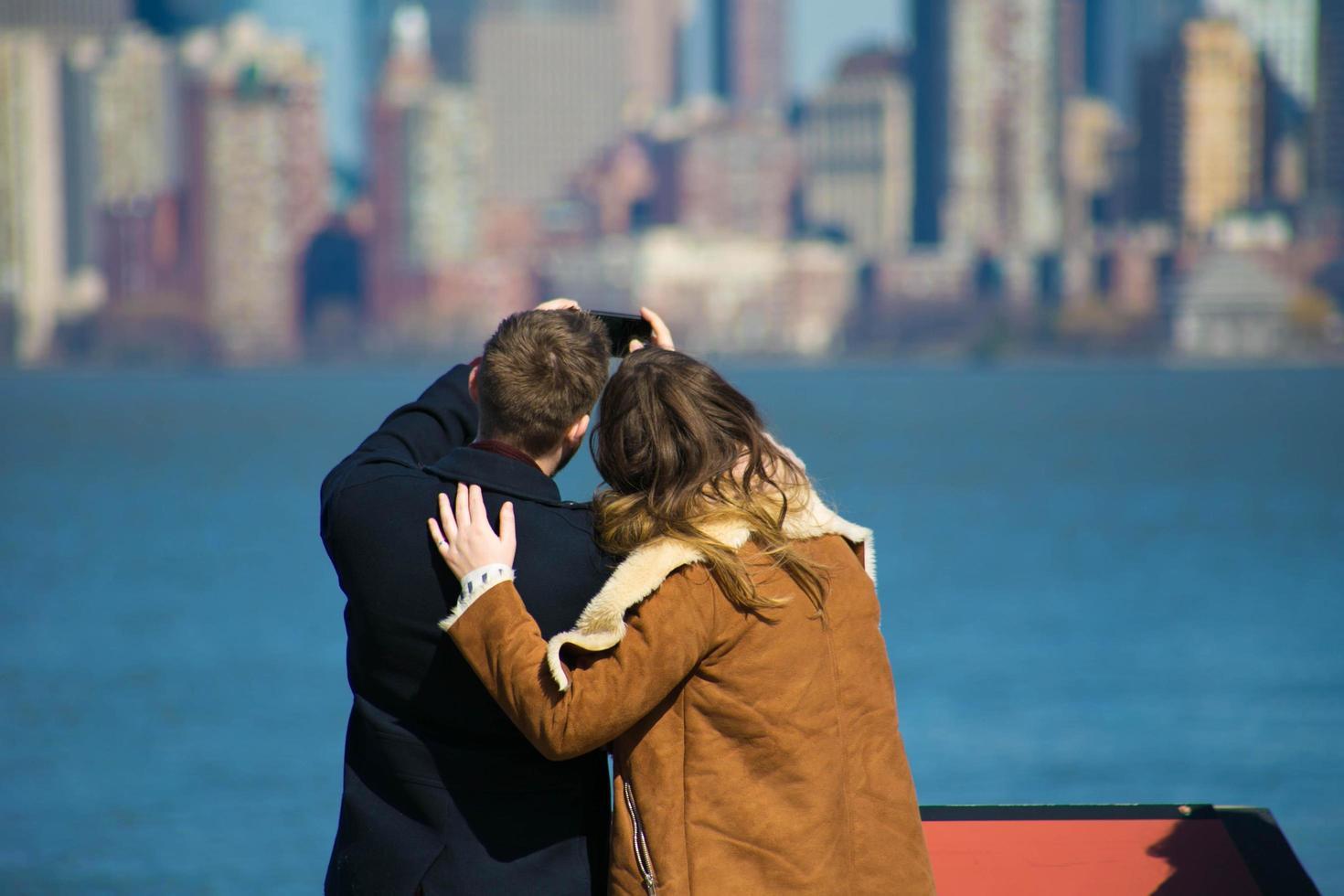 New York City, 2020 - Couple takes selfie on Staten Island photo