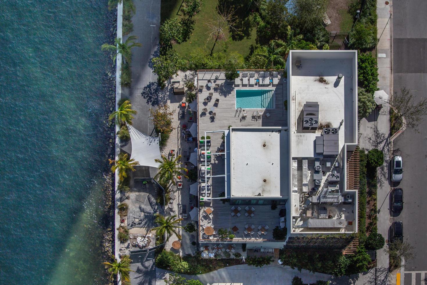 Miami, Florida, 2020 - Aerial view of home near ocean photo