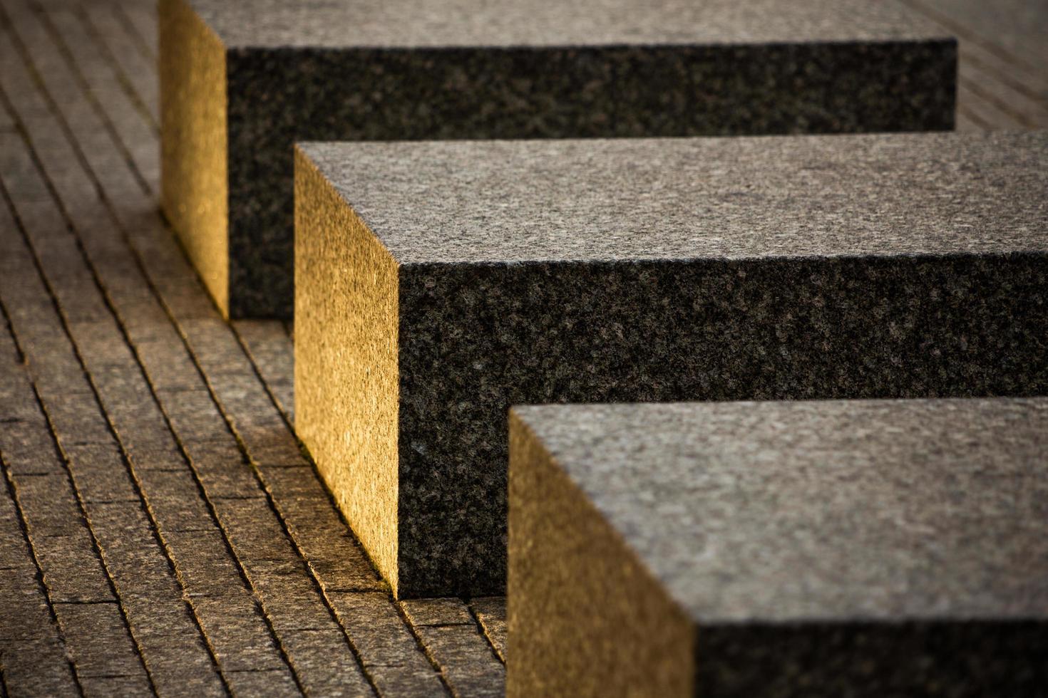 Concrete blocks on pavement photo