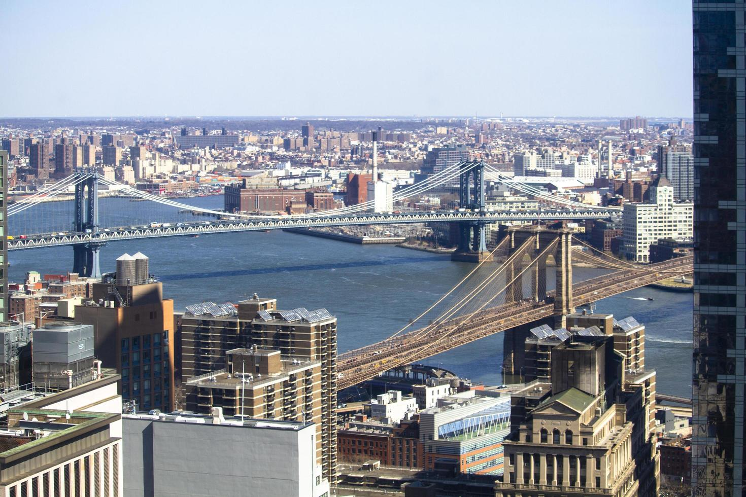 Brooklyn, NY, 2020 - Aerial view of bridges and city photo