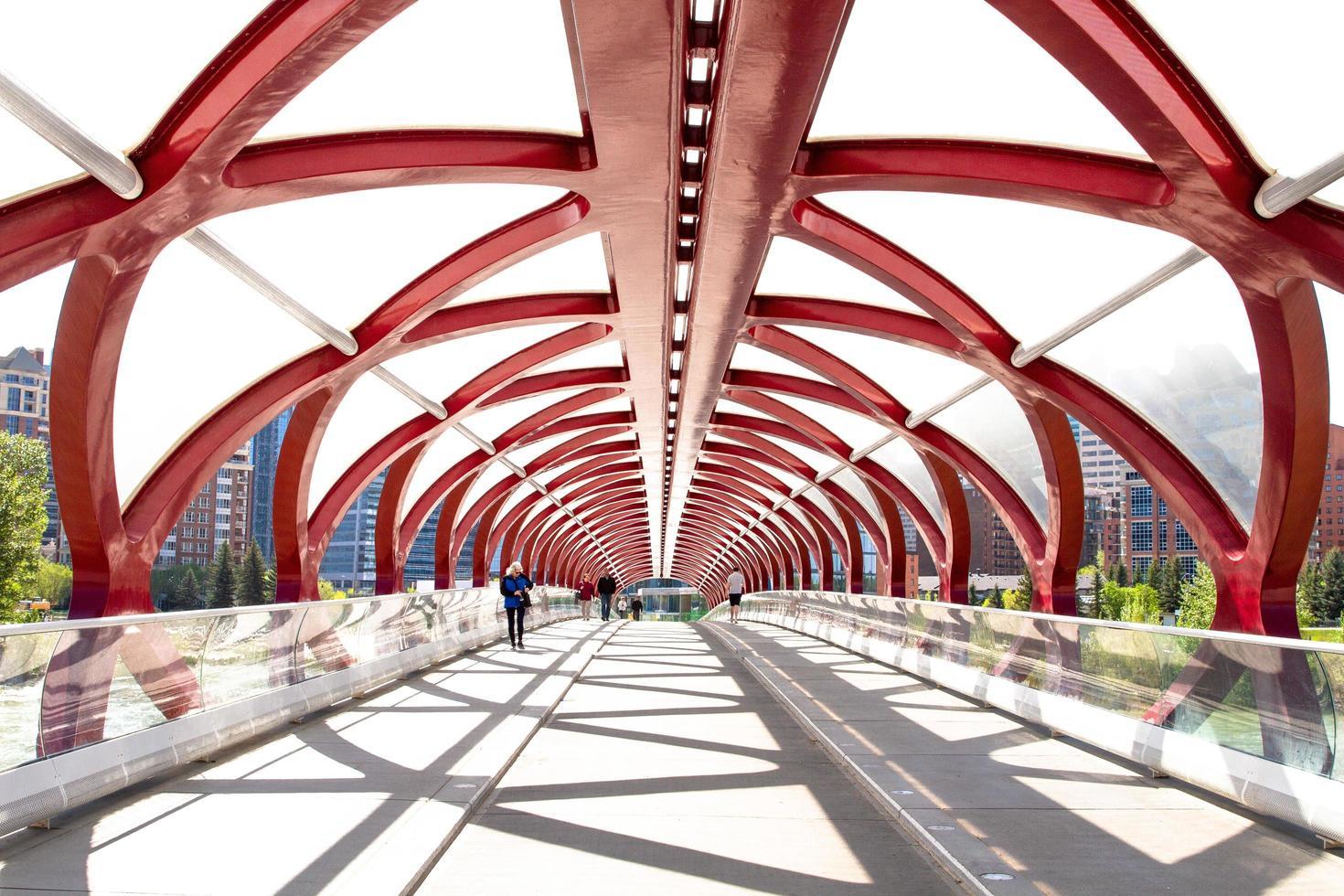 Alberta, Canada, 2020 - People walking on Peace Bridge photo