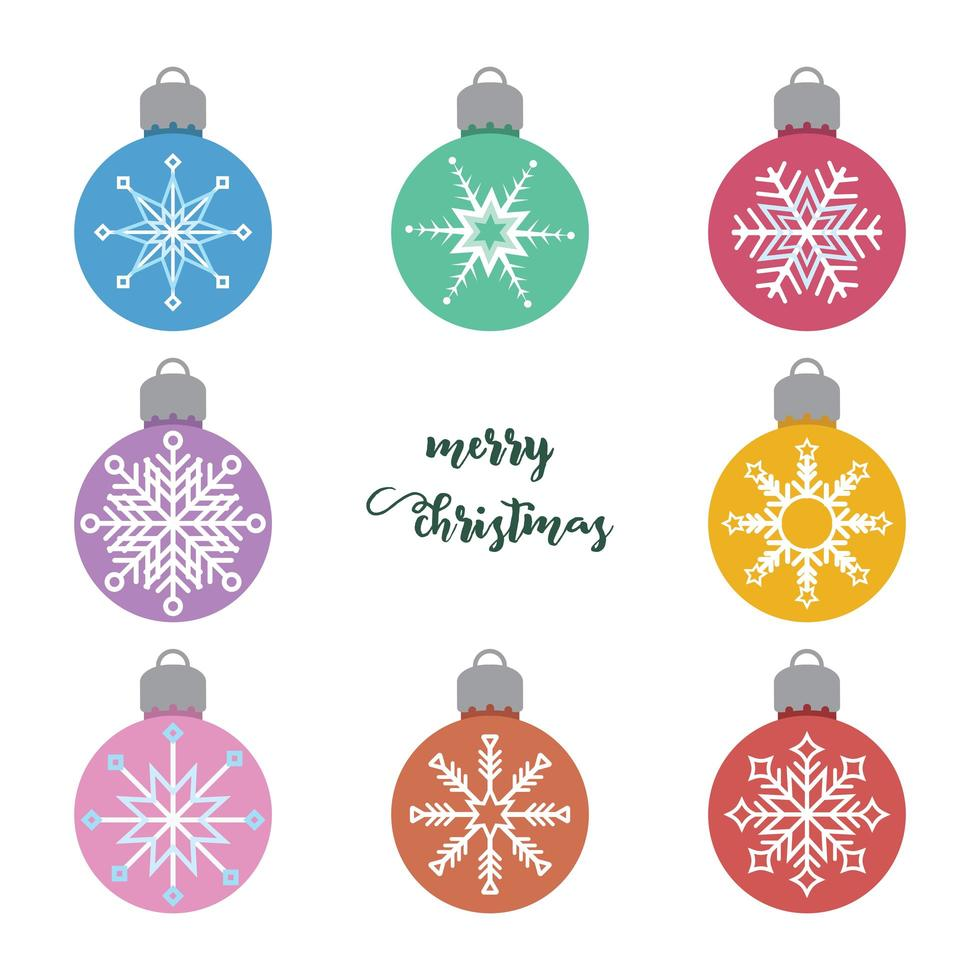 Set of various Christmas baubles with snowflake pattern vector