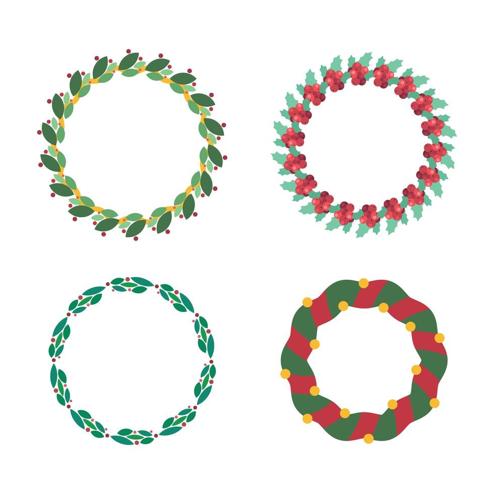 Collection of various Christmas wreaths vector