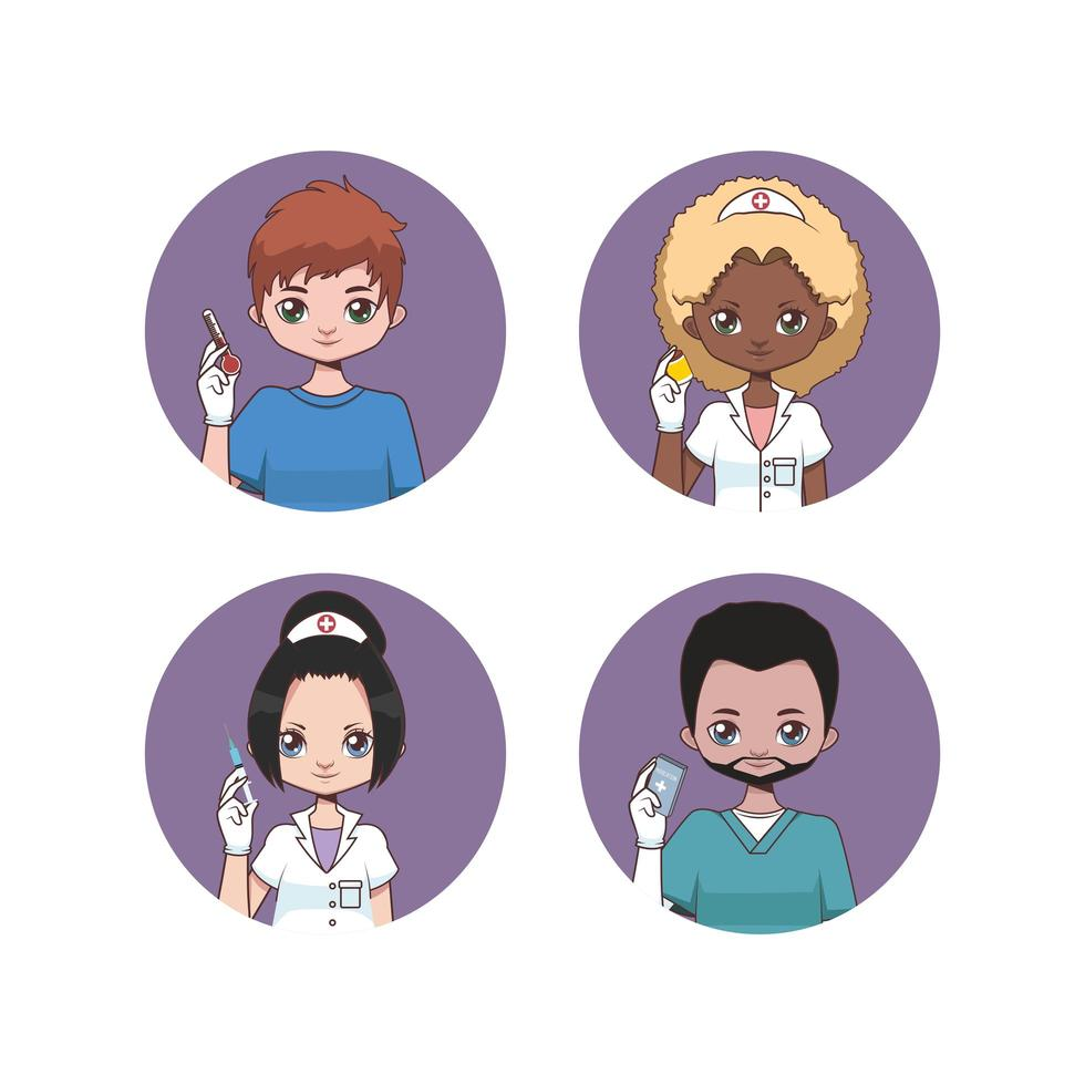 Collection of female and male nurse avatars vector