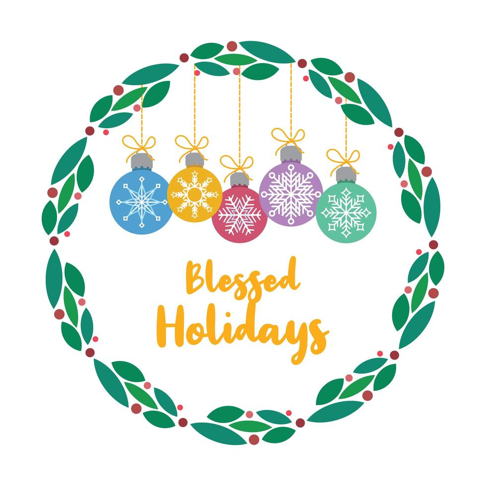 Christmas greeting with lovely wreath and baubles vector