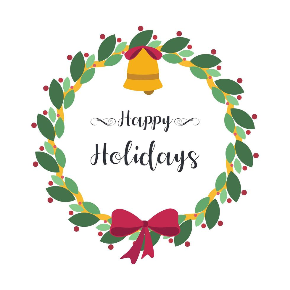 Christmas greeting with a lovely wreath vector