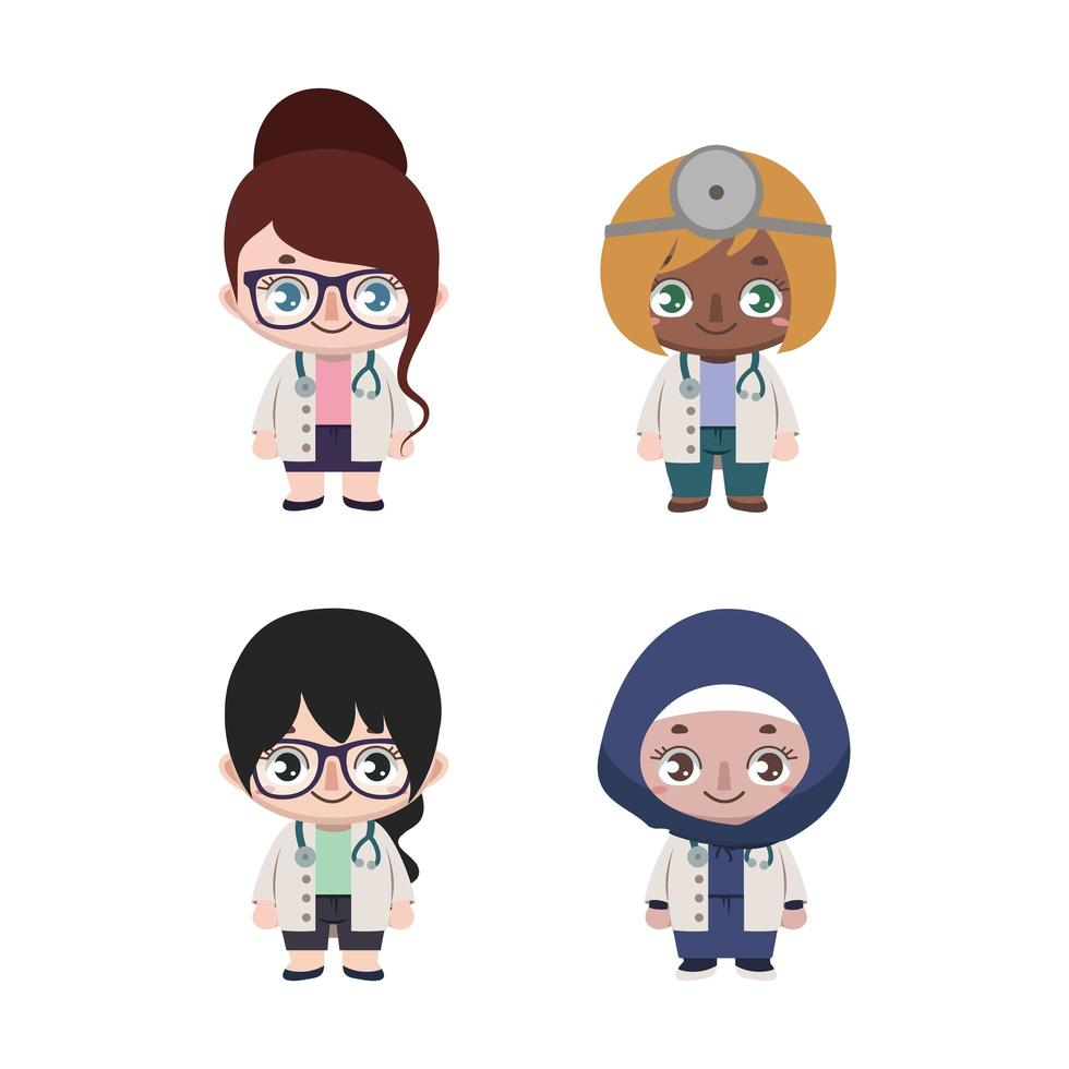 Group of diverse female doctors vector