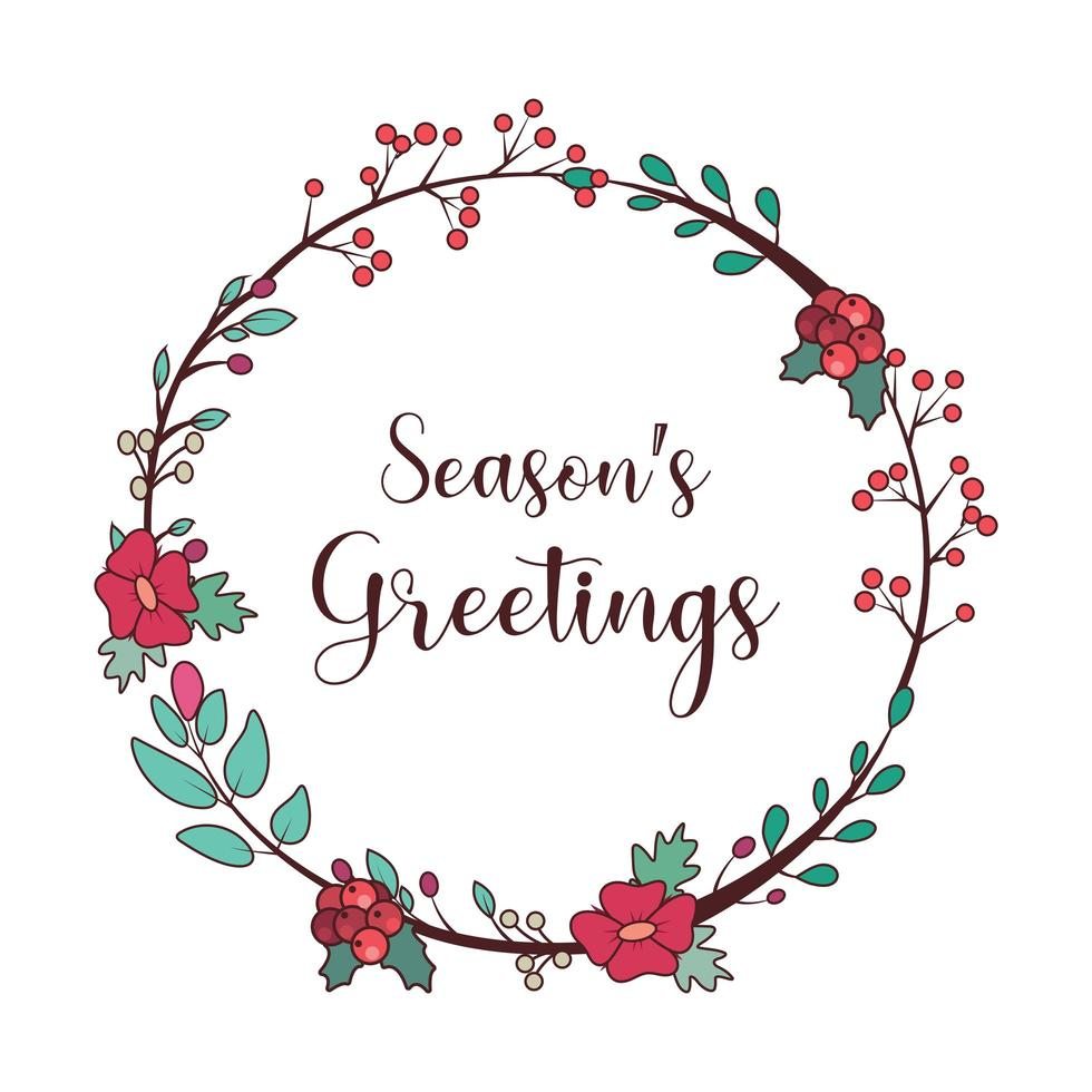 Seasons greetings lovely wreath and text vector