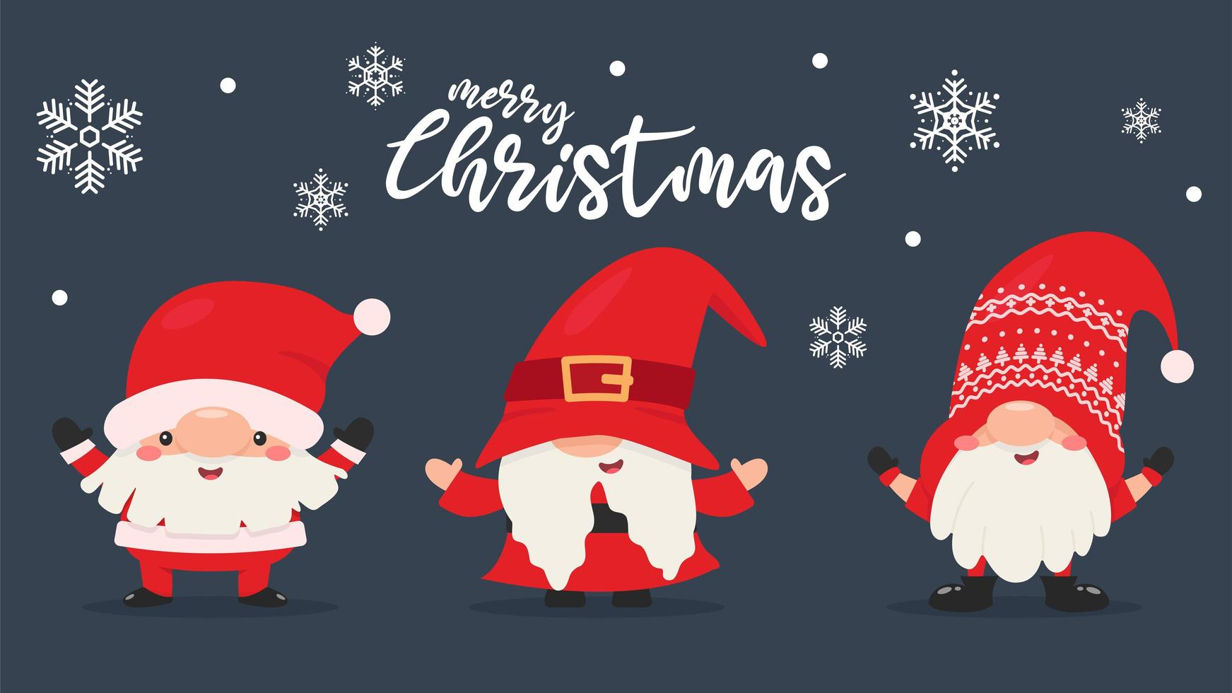 Dwarf gnomes in Santa outfits with snowflakes vector