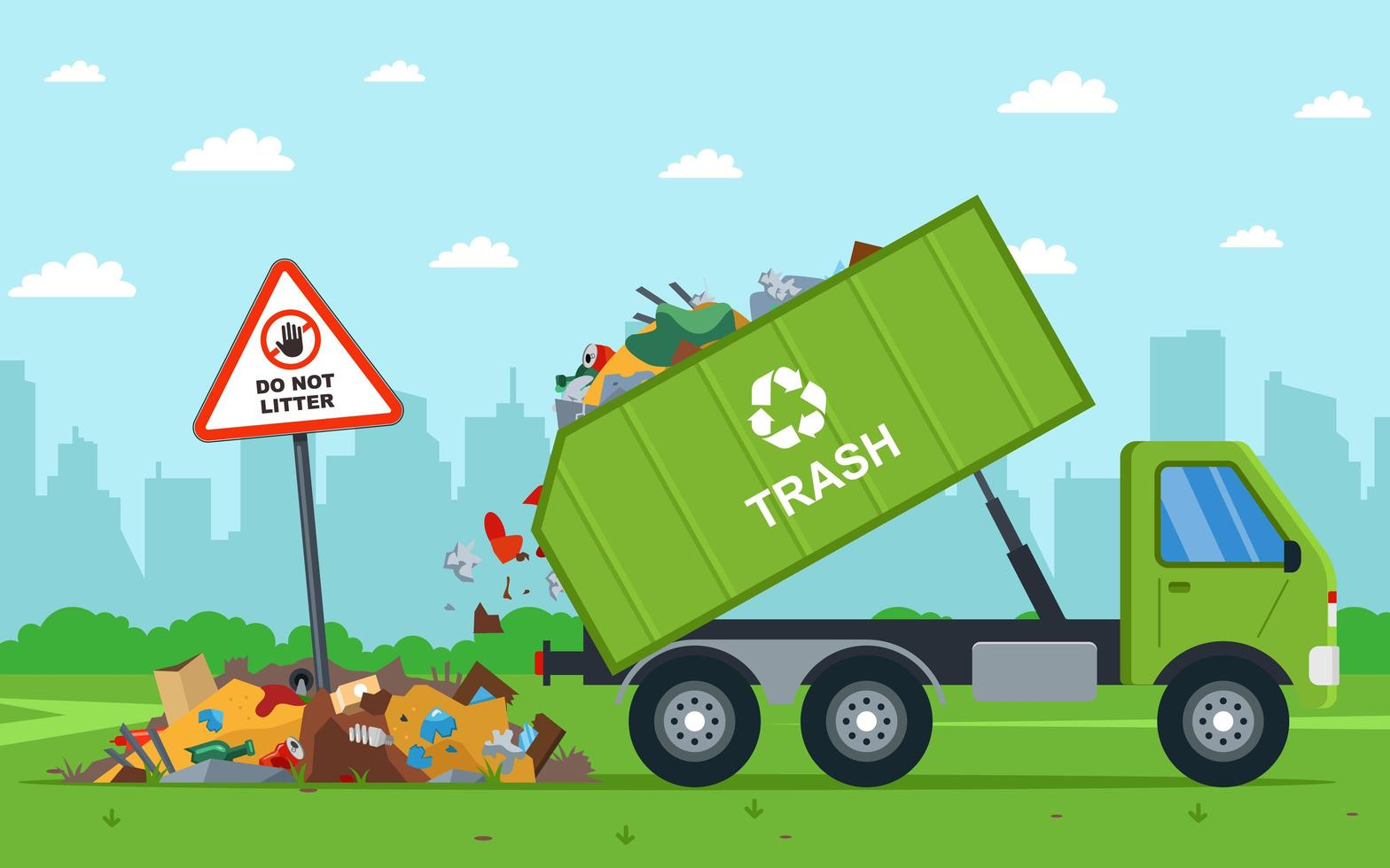 Drump truck illegal unloading waste into field vector