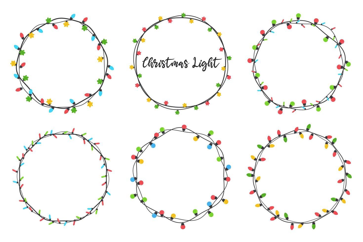 Christmas light bulb wreaths set vector