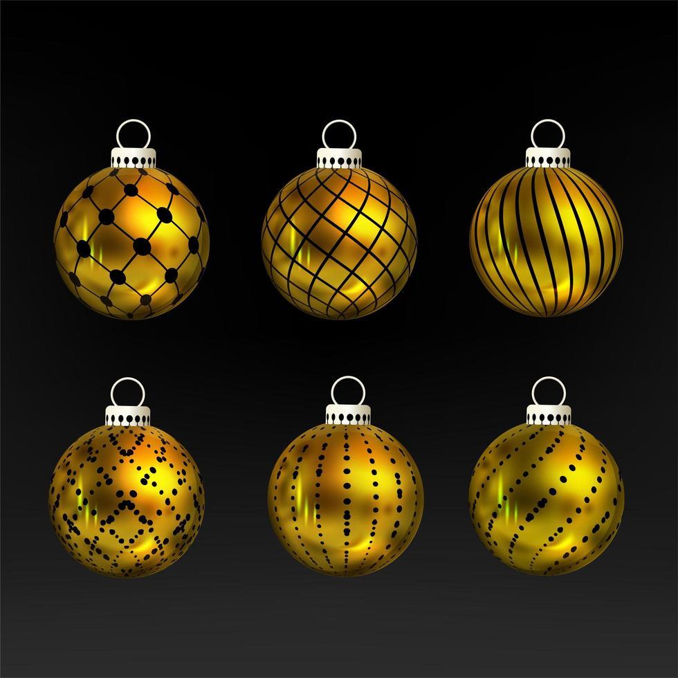 Golden Christmas ball ornament set vector