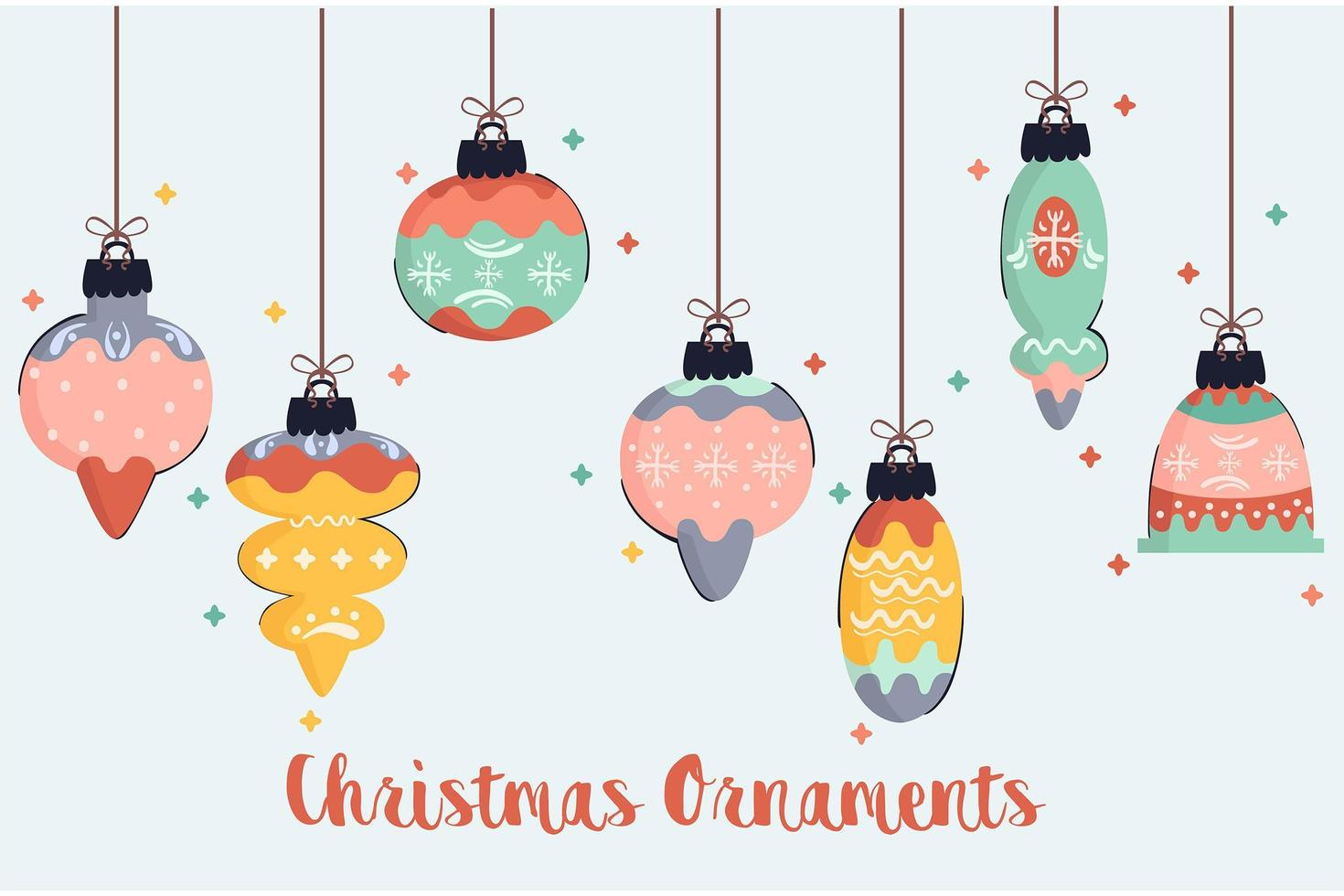 Christmas Ornaments Illustration Pack vector