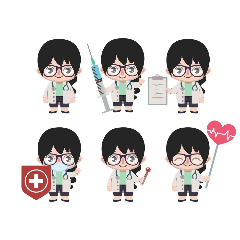 Asian female doctor mascot in various poses vector