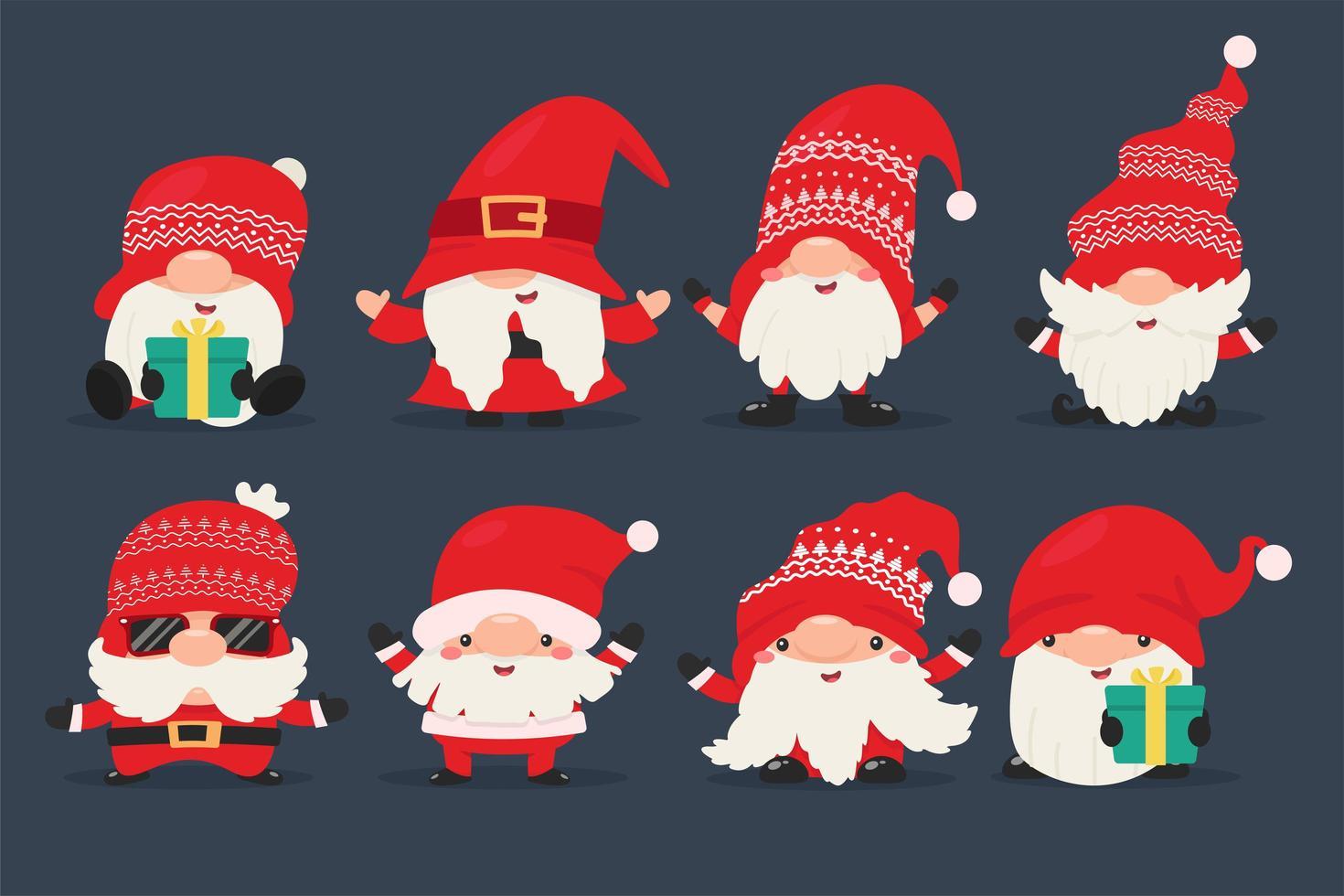 gnomos enanos vestidos de rojo navidad y santa vector