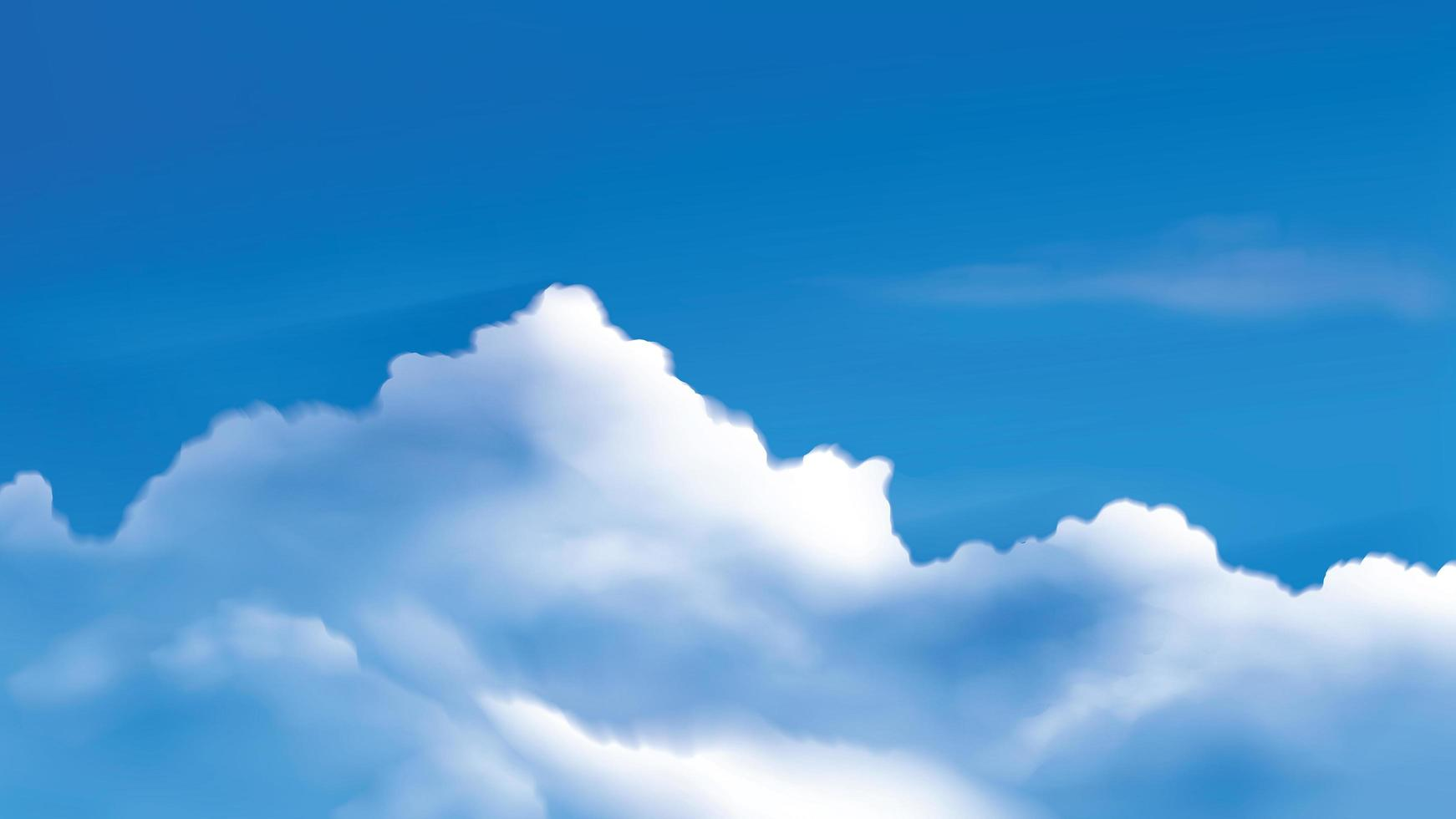 Cumulus clouds on the bright blue sky vector