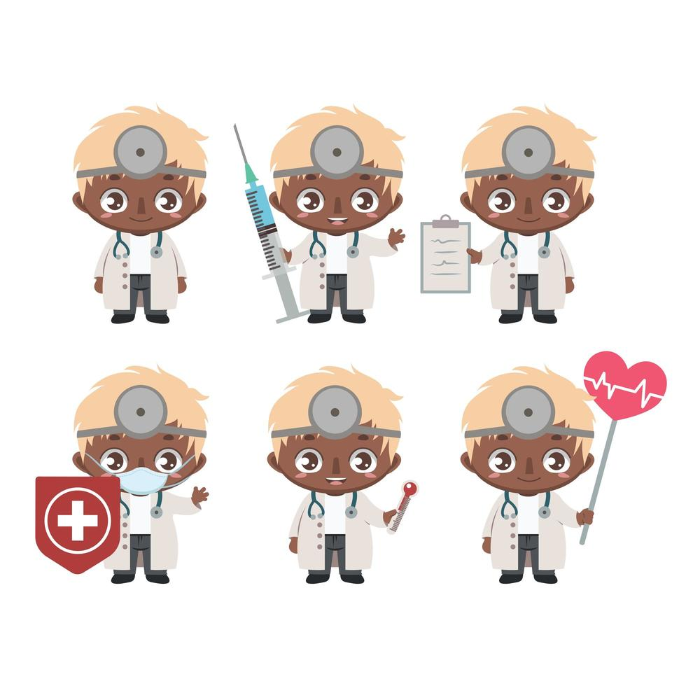 African American male doctor mascot in various poses vector