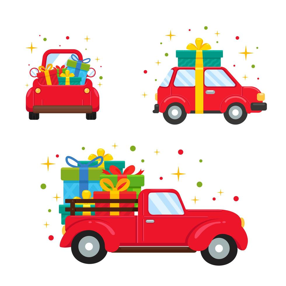 Red vehicles carrying big gift boxes vector