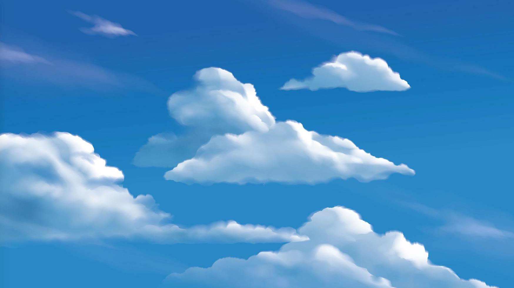 Stratocumulus clouds on the bright blue sky vector