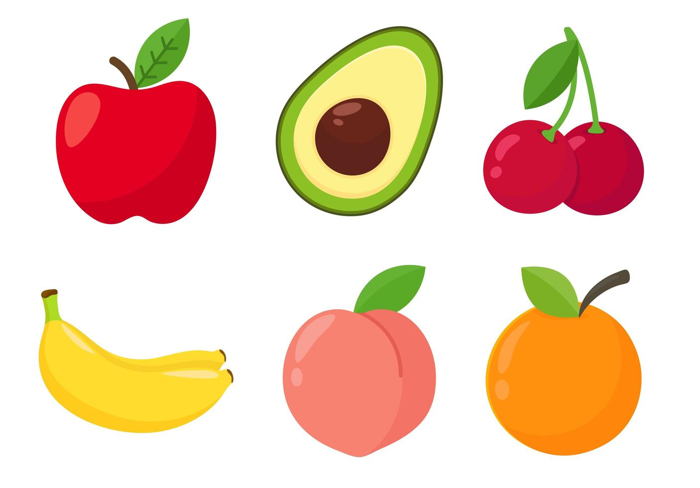 Cartoon healthy fruit set vector