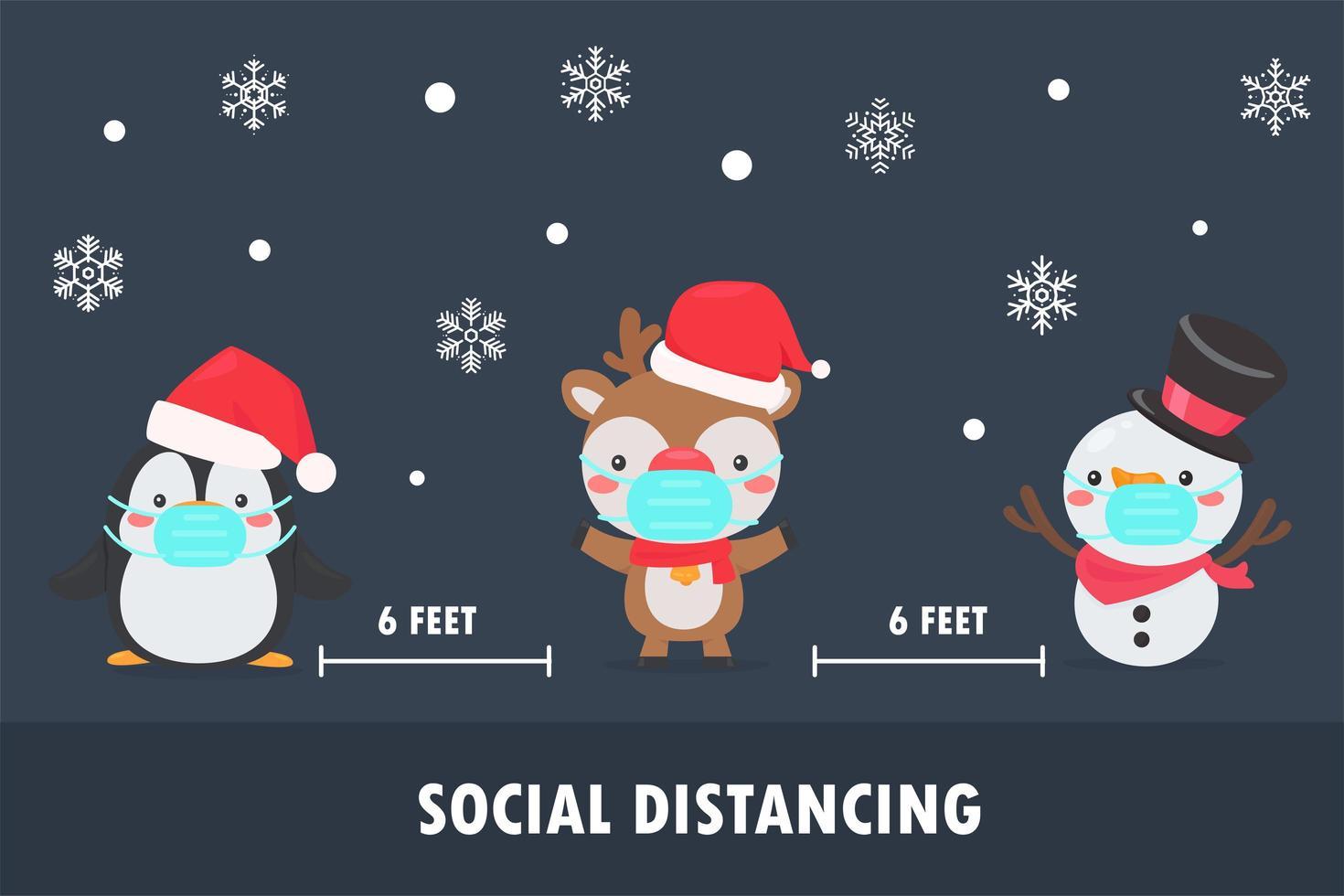 pingüino, reno y muñeco de nieve usan máscaras y distancia social. vector