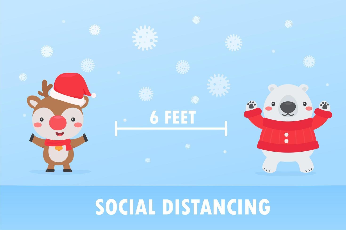Reindeer and bear social distancing to prevent Coronavirus vector
