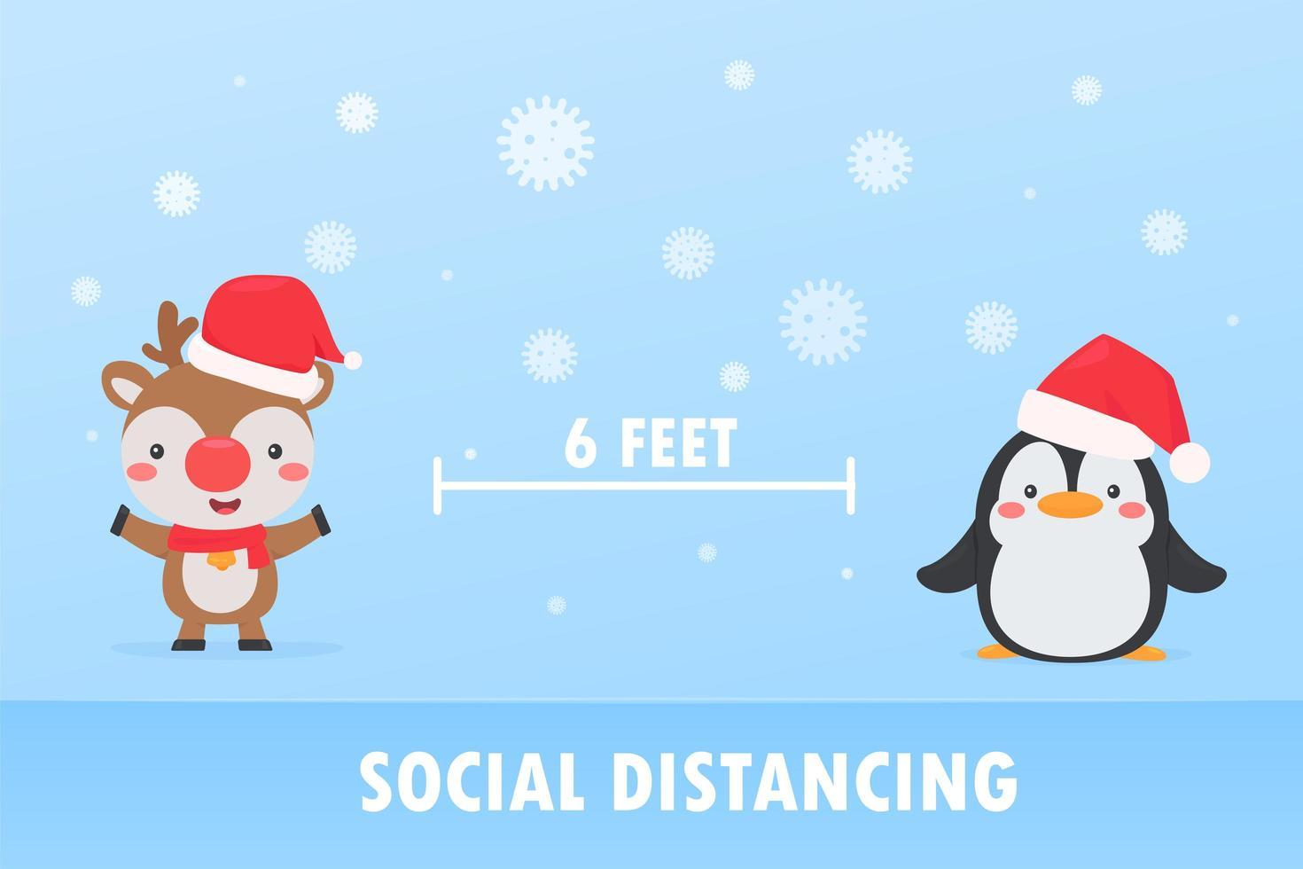 Reindeer and penguin social distancing to prevent Coronavirus vector