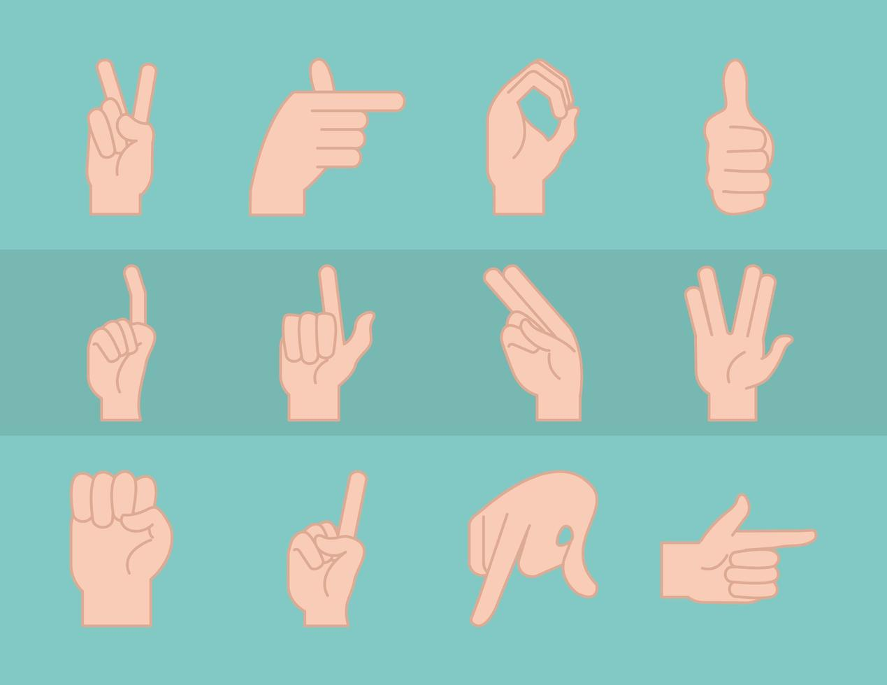Sign language and hand gestures collection vector