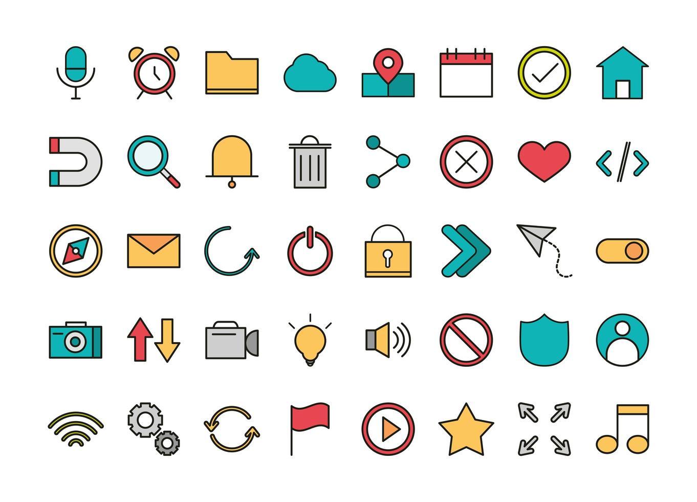 conjunto de iconos de interfaz de usuario vector