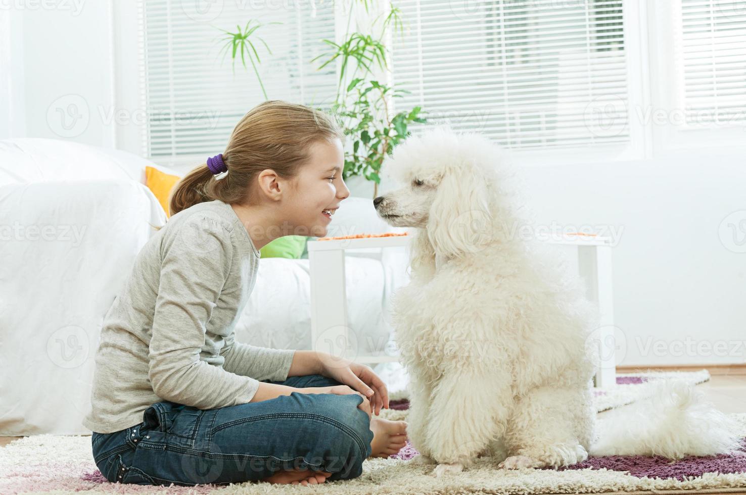 Girl with dog photo
