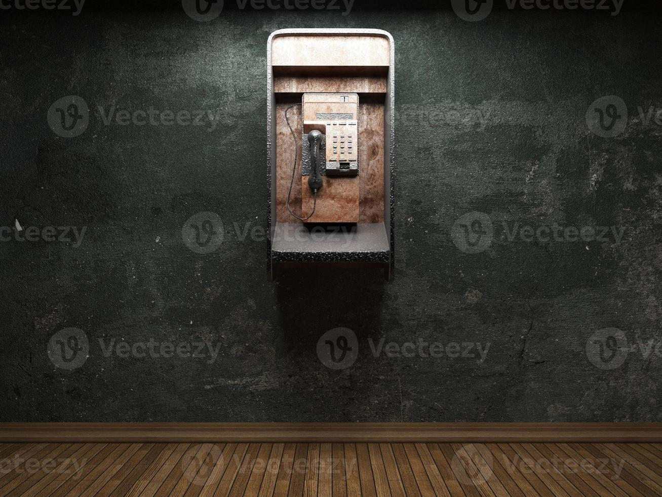 old concrete wall and telephone booth photo