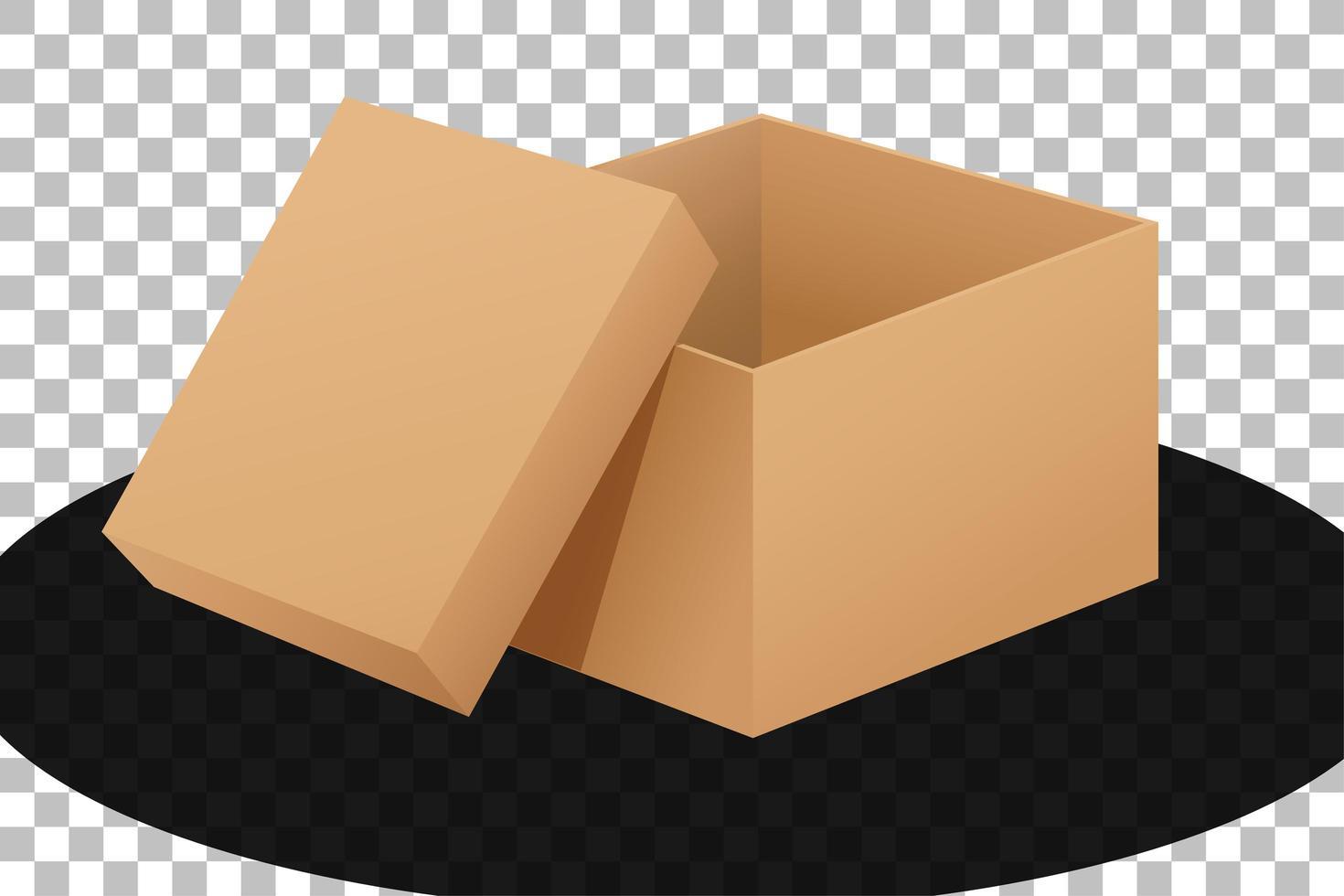 caja de cartón abierta aislada vector