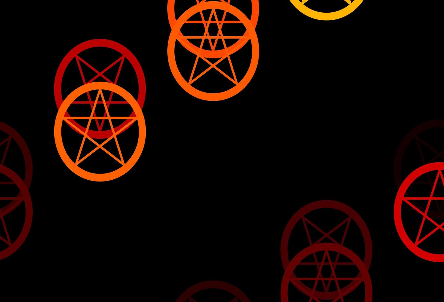 Orange template with esoteric signs. vector