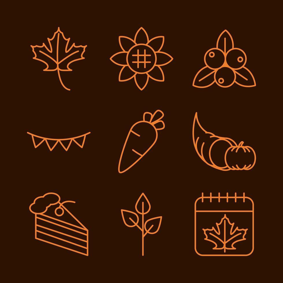 conjunto de iconos de celebración del día de acción de gracias vector