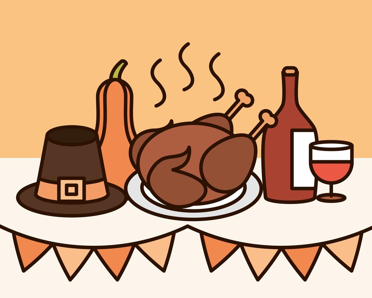 Thanksgiving Day celebration composition vector