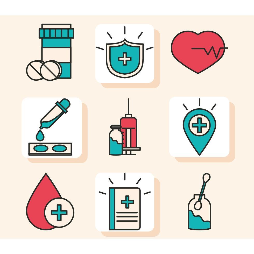colección de iconos de investigación y ciencia de vacunas vector